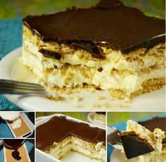No-bake Chocolate Eclair Icebox Dessert is creamy, delicious, and comforting. Icebox Desserts, 13 Desserts, French Desserts, Sweet Desserts, Plated Desserts, Delicious Desserts, Graham Cracker Recipes, Homemade Graham Crackers, Sweet Recipes
