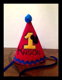 Mickey Mouse 1st Birthday Party Hat by LulaBelleStitches on Etsy, $25.00