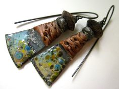 A Candidate for Madness - primitive assemblage junkyard sky blue peach enamel tin, knotted faux sinew, wood, soldered black metal earrings by LoveRoot