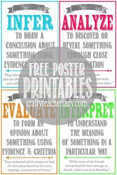 Free set of printable CRITICAL THINKING SKILLS Posters! Great for any secondary classroom! They come in two sizes!                                                                                                                                                                                 More
