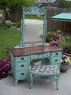 inspiration for painted finish -- A Brush of Whimsy: Chippy Aqua Vanity