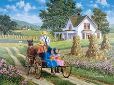 A Perfect Pair    JohnSloaneArt.com - John Sloane - Gallery - Amish