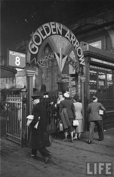 The Golden Arrow (French: Flèche d'Or) A luxury boat train of the Southern Railway + later British Railways. It linked London with Dover, where passengers took the ferry to Calais to join the Flèche d'Or of the Chemin de Fer du Nord and later SNCF which took them on to Paris. [Passengers at Victoria Station in the 1950's]