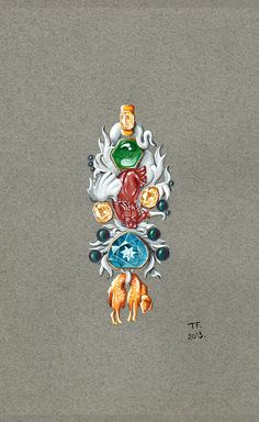 Tony FURION : Broche ''Toison D'or '' joaillerie gouaché - dessin bijoux jewellery rendering