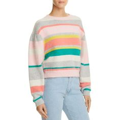 Rebecca Taylor Striped Cropped Sweater (5.588.985 IDR) ❤ liked on Polyvore featuring tops, sweaters, multi, cropped sweater, mohair sweaters, stripe top, stripe crop top and rebecca taylor