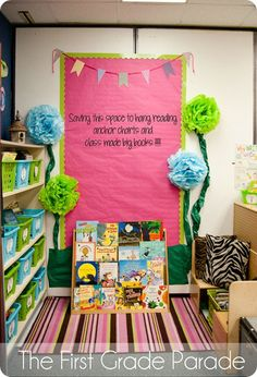 Ten Pin Linky Party: Your Favorite Classroom Decor Pins mkae with posterboard and duct tape to hang on cork strips Classroom Layout, Classroom Organisation, Classroom Design, Classroom Displays, Classroom Themes, Classroom Libraries, First Grade Classroom, Kindergarten Classroom, School Classroom