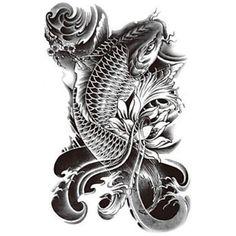 Fish tattoo & Buddha tattoo (Set - Large Black Temporary tattoo for Men/ Women - (Koi Fish-Buda tattoo) Koi Dragon Tattoo, Koy Fish Tattoo, Pez Koi Tattoo, Koi Tattoo Sleeve, Dragon Koi Tattoo Design, Tatouage Poisson Koy, Tattoo Set, Arm Band Tattoo, Chest Tattoo
