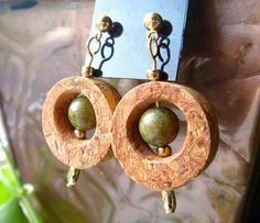 Green Goddess Wine Cork Earrings