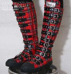 Gothic Punk Steampunk LARP Buckle Strap Gear Knee Boot | eBay