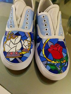 2886bf7d8698ca Beauty and the beast  )  disneyshoesdiy Hand Painted Shoes