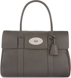 MULBERRY Bayswater Bag in Mole Grey with Silver Detail. Classical Fashion Item.