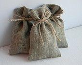 SET OF 40 Natural Rustic Linen Eco Wedding Favors Bag with silver ribbon. $35.00, via Etsy.