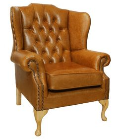 Chesterfield Gladstone Queen Anne High Back Wing Chair UK Manufactured Old English Tan, Leather Sofas, Traditional Sofas