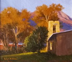 """Evening Adobe Belltower"" l 7x8 I Dix Baines I Fine Artist l Original Oil Paintings I New Mexico l Architecture l Fall Trees l Southwest l www.dixbaines.com"