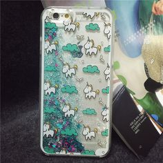 New Arrival Dynamic Liquid Quicksand Star Cute Unicorn Pattern Back Cover Silicon Phone Case for iphone 5 6S 6 plus Clear Capa