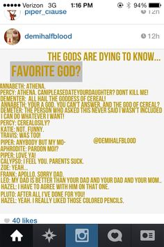 "Lol ""THE GOD OF CEREAL!"" ""I really liked those colored pencils"""