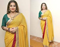 Celebrity Style Check! Actress Vidya Balan in a beautiful yellow mirror work saree at JFW Women's Summit. The saree had a unique embroidery patch border which the actress matched with contrast green quarter sleeves round neck blouse.