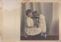 Hand Tinted Vintage Photograph Little Girls One Smelling a Rose