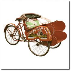 Authentic Becak Rickshaw Tricycle Bicycle Antique Red Cab Pedicab Taxi Bike Java