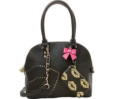 Betsey Johnson FIRST KISS DOME SATCHEL BJ50215 EYES Bow, ZIP POUCH, Key Chain! #BetseyJohnson #SatchelDomeSatchel