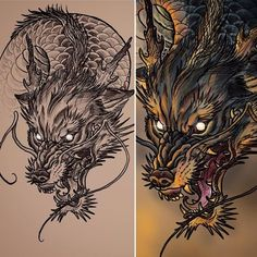 53 Ideas for tattoo sleeve leg wolves Asian Tattoos, Trendy Tattoos, Popular Tattoos, Japanese Wolf, Japanese Dragon, Japanese Tattoo Art, Japanese Sleeve Tattoos, Blue Dragon Tattoo, Wolf Sleeve
