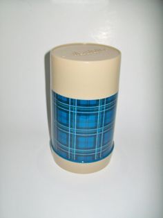 Vintage Blue Plaid Aladdin Thermos Wide Mouth Pint