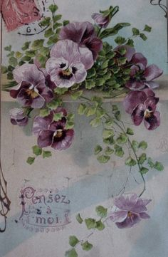 Pansies make this vintage postcard a stand-out!