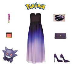 """Pokémon: Gengar Outfit"" by billsacred ❤ liked on Polyvore featuring City Chic, Too Faced Cosmetics, Tom Ford, Casadei and Tory Burch"