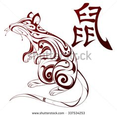 Find Chinese Zodiac Symbol Rat Hieroglyph stock images in HD and millions of other royalty-free stock photos, illustrations and vectors in the Shutterstock collection. Thousands of new, high-quality pictures added every day. Chinese New Year Zodiac, Chinese Zodiac Signs, Bunny Tattoos, Animal Tattoos, Rat Zodiac, Rat Tattoo, Chest Tattoo, Irish Tattoos, Wing Tattoos