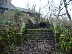 St Saviour's Church, Bacup, Steps  These steps are part of the path from the main road to the church, as can be seen they are not used, all the grounds on the west side of the church are in a state of dereliction; the last service was held in 2007.