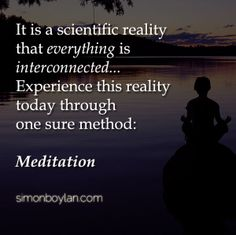 It is a scientific reality that everything is interconnected.... Experience this reality today through one sure method: Meditation