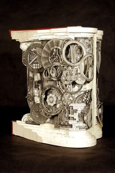 """Complete Antique, Brian Dettmer, 2009, Altered Book, 10"""" x 8-3/4"""" x 6"""" - Image Courtesy of the Artist and Toomey Tourell Fine Art"""