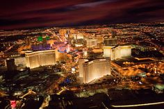 Aerial View of the Las Vegas Strip at night in Las Vegas, Nevada