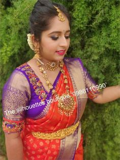 Pattu Saree Blouse Designs, Blouse Designs Silk, Designer Blouse Patterns, Bridal Blouse Designs, Simple Blouse Designs, Stylish Blouse Design, Work Blouse, Sarees, Blouse Desings