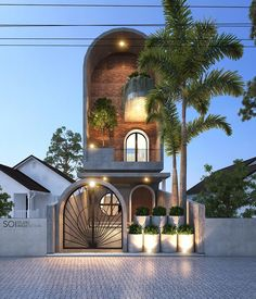 Exterior design works The Modern style in Vinh Phuc CIRCLE HOUSE, works by architect Nguyen Cong Anh Image design completed in 2018 Studios Architecture, Facade Architecture, Residential Architecture, Amazing Architecture, Design Exterior, Facade Design, Bungalow House Design, Modern House Design, Circle House
