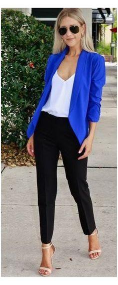 Royal Blue Pants, Royal Blue Outfits, Royal Blue Blazers, Royal Blue Sweater, Blue Sweater Outfit, Blue Pants Outfit, Outfit Ideas, Blazer Outfits For Women, Everyday Fashion