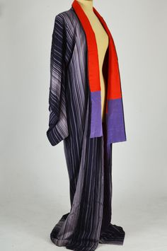 Mela Mela Vintage is pleased to offer this wonderful vintage kimono in a striped purple fabric with a purple and red lining. Purple Fabric, Vintage Kimono, 1960s, Kimono Top, Stripes, Red, Collection, Tops, Women