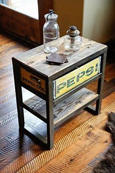 Rustic Steel & Reclaimed Montana Barn Wood Soda Crate Table, Night Stand, End Table, Industrial Chic Table, Vintage Crate Table Crate Furniture, Repurposed Furniture, Furniture Projects, Furniture Makeover, Furniture Factory, Wood Projects, Furniture Design, Vintage Industrial Furniture, Rustic Furniture