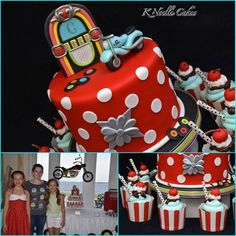 Teen Beach Shredder Shindig | CatchMyParty.com Biker cake, jukebox, 50s 60s, diner, sock hop