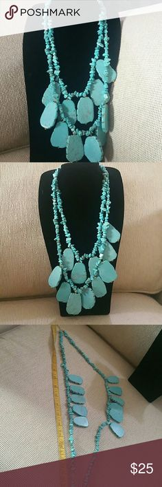 Nice multi-level turquoise stone necklace Perfect shape Hardwares in excellent shape all stones are chip free great with all sorts of different outfits Jewelry Necklaces