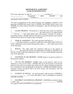 A template for a hair salon booth rental agreement, between a ...