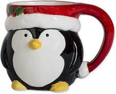 Penguin Mug, Penguin Brand, Santa Mugs, Hot Chocolate Mug, Cute Cups, Christmas Coffee, Penguins, Coffee Mugs, Hand Painted