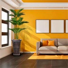 Laura Ashley Tall Palm Tree Artificial Decorative Faux with Burlap Kit and Fiberstone Planter - Assorted Yellow Walls Living Room, Interior Paint Colors For Living Room, Room Wall Colors, Colourful Living Room, Living Room Colors, Indian Living Rooms, Living Room Paint, Living Room Decor, Indian Bedroom