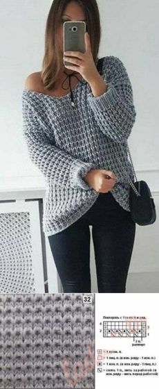2017 NEW Autumn Winter Women Loose Soild Color V Neck Plus Size Pullover Knitted Shirt Off Shoulder Long Sleeve Sweaters Knitting Designs, Knitting Patterns Free, Knitting Stitches, Free Pattern, Casual Sweaters, Sweaters For Women, Cozy Sweaters, Crochet Clothes, Knitwear