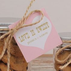 Set of 24  Wedding Favor Tags  Love is Sweet Tags  by thefavorbox