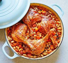 One-pan roast duck legs with white beans Roast Duck, Slow Roast, One Pot Wonders, Roasting Tins, Ramadan Recipes, Five Ingredients, Bbc Good Food Recipes, White Beans, One Pot Meals