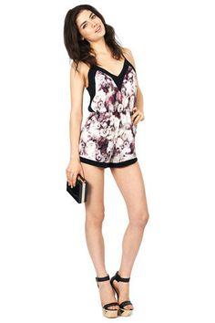 Night Bloom Dazed Floral Black Trim Short Playsuit   Oh My Love