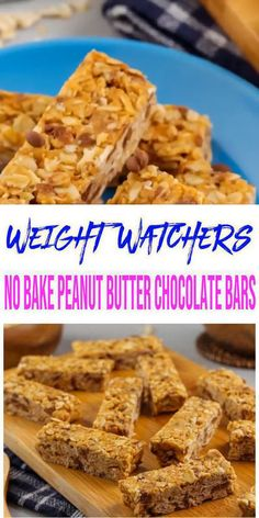 Tasty Weight Watchers NO bake peanut butter chocolate chip bars you WILL NOT be able to stop eating! Super delicious Weight Watchers recipe for the best… Weight Watcher Desserts, Weight Watchers Snacks, Weight Watchers Breakfast, Weight Loss Meals, Weight Watcher Granola Bar Recipe, Breakfast Bars Healthy, Breakfast Recipes, Weith Watchers, Peanut Butter Chocolate Bars