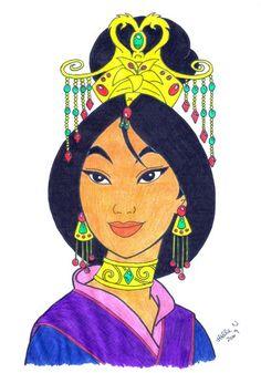 Mulan - a real princess-color by hellenielsen82 on deviantART
