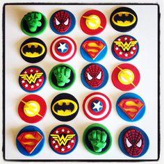 12 x Superhero fondant edible Cupcake Toppers - Batman, Wonderwoman, The flash, Captain America, hulk fist Superman, Birthday, Party